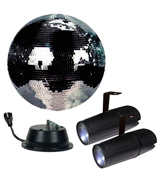Adkins Professional lighting MBKIT-12DUAL-A 12 Disco Mirror Ball Complete Party Kit