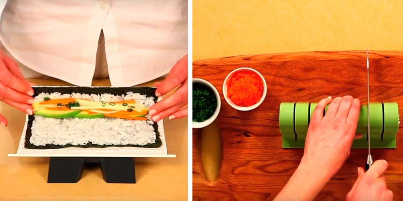 Sushiquik Super Easy Detachable sushi mat in the use