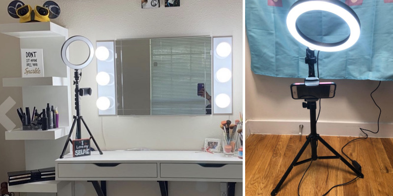 "UBeesize 8"" Selfie Ring Light with Tripod Stand & Cell Phone Holder in the use"