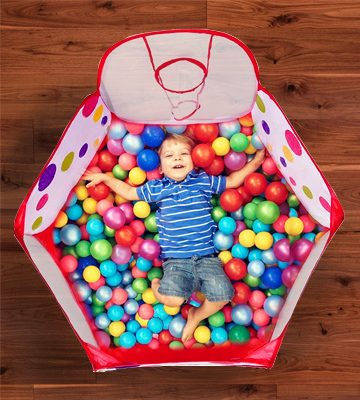 Review of Mudder Kids Kids Ball Pool with Mini Basketball Hoop and Zipper Storage Bag