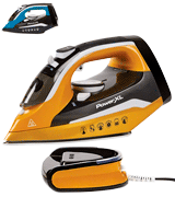 PowerXL Cordless Iron and Steamer, 1400W Iron with Ceramic Soleplate, Vertical Steam, Anti-Calc, Anti-Drip, Auto-Off, Power Base