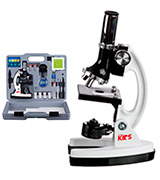 AmScope M30-ABS-KT2-W Microscope Kit with Metal Arm and Base, 6 Magnifications from 20x to 1200x, Includes 52-Piece Accessory Set and Case