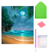AIRDEA Seaside Moon Beach DIY 5D Diamond Painting Kit