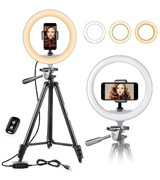 UBeesize 10 Selfie Ring Light with 50 Extendable Tripod & Cell Phone Holder