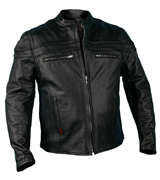 Hot Leathers JKM1011 Men's Heavyweight Black Leather Jacket with Double Piping
