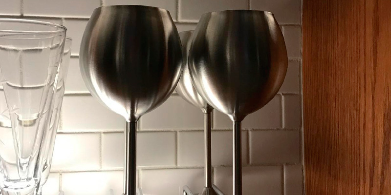 Modern Innovations Stainless Steel Wine Glasses in the use