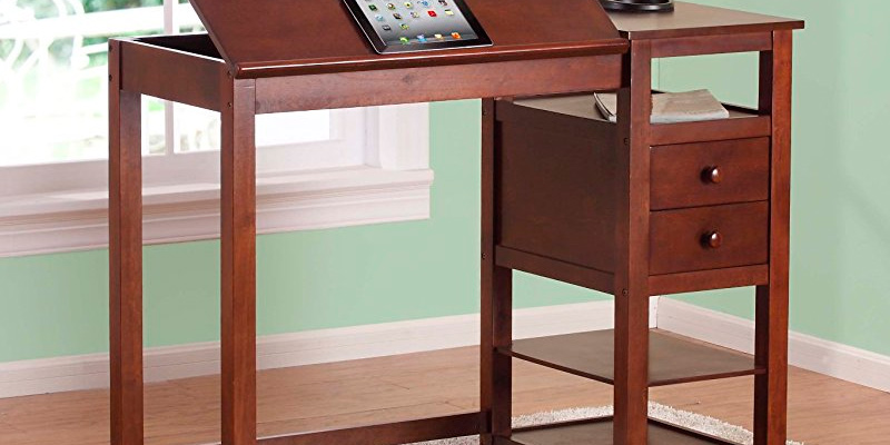 Dorel Living Wood Drafting Desk in the use