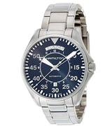 Hamilton H64615135 Men's 'Khaki Aviation' Swiss Automatic Stainless Steel Dress Watch, Color:Silver-Toned