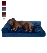 Furhaven Plush Orthopedic L-Shaped Chaise Lounger & Traditional Sofa-Style Dog Bed