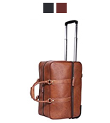 Leathario BLT000131 Men's Leather Luggage Wheeled Duffle