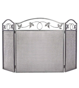 Amagabeli Garden & Home S38259SK 3 Panel Pewter Wrought Iron Fireplace Screen