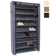 SONGMICS URXJ36G 10 Tiers Shoe Rack with Dustproof Cover