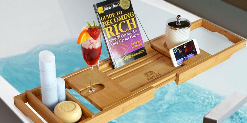 Royal Craft Wood Luxury Bathtub Caddy in the use