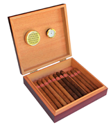 CASE ELEGANCE 25 CIGARS Spanish Cedar Humidor with Magnet Seal and Humidifier Gel