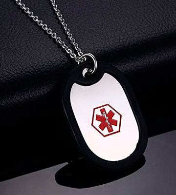 Review of BBX JEWELRY NC1014DZ Medical Alert ID Tag Necklace with Rolo Chain