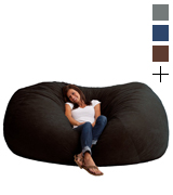 Big Joe 0001178 XXL Fuf Foam Filled Bean Bag Chair, Comfort Suede, Black Onyx