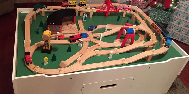 Melissa & Doug Deluxe Wooden Railway Set in the use
