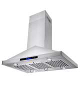 Golden Vantage 36-Inch AKDY 36 RH0184 Island Mount LED Display Touch Control Stainless Steel Kitchen Cooking Fan Range Hood