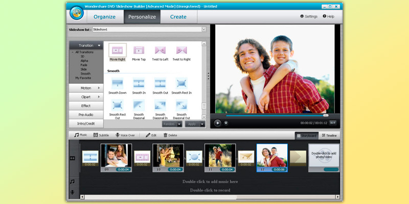 Wondershare DVD Slideshow Builder Deluxe in the use