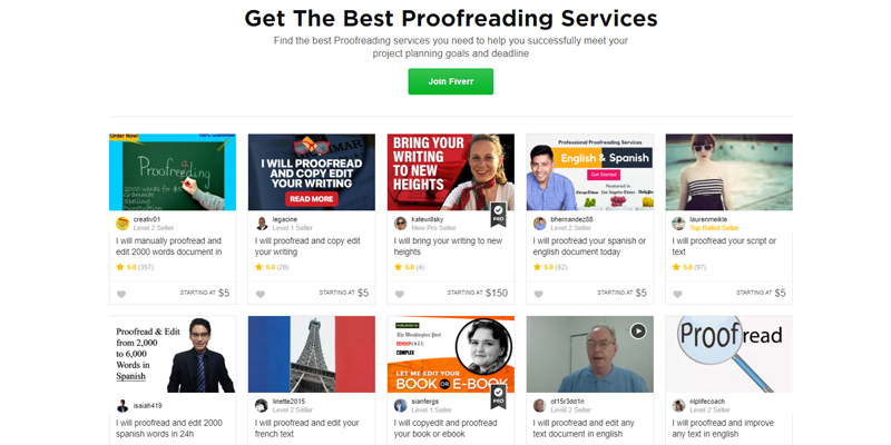 Fiverr Proofreading & Editing Services in the use