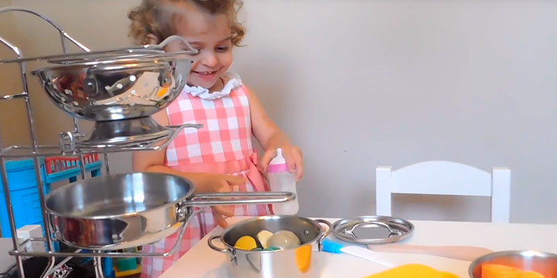 Melissa & Doug Stainless Steel Pots and Pans Playset for Kids in the use