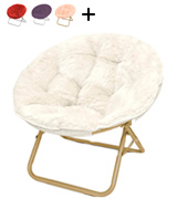 Urban Shop HK656499 Foldable Papasan Chair with Faux Fur Cushion