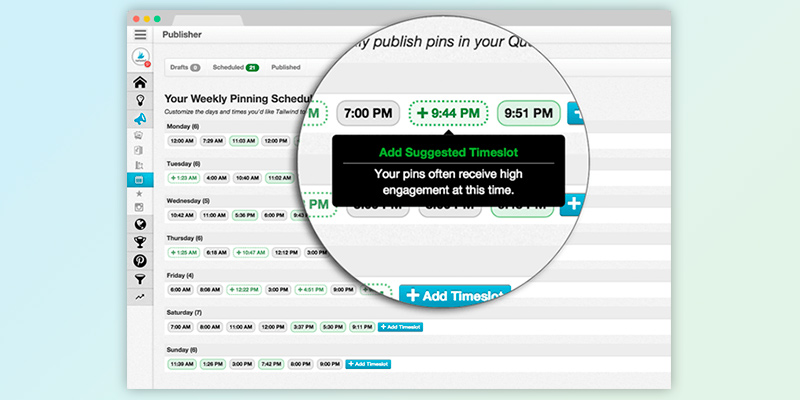 Tailwind Scheduler, Analytics and Marketing Tool in the use