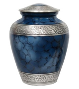 Memorials4u Elite Cloud Blue and Silver Cremation Urn
