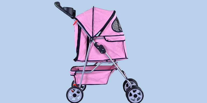 Detailed review of BestPet 4 Wheels Pet Dog Cat Stroller w/RainCover