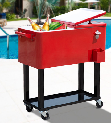 Review of Outsunny Rolling Ice Chest Patio Cooler Cart