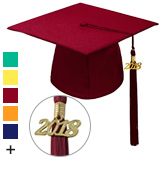 Robe Depot Unisex Adult Matte Graduation Cap with Tassel 2018