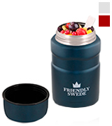 The Friendly Swede EDR-MORA-BLU-1P-500ML-00-US Food Jar Vacuum Insulated Stainless Steel 16 oz. With Folding Spoon, Cup and Storage for Travel