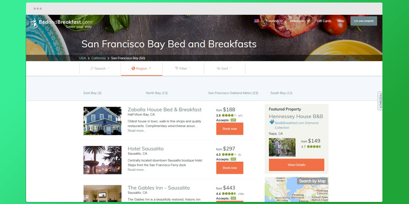 Bed and Breakfast Travel Site in the use