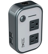 Foval Travel Adapter-B Voltage Converter, Step Down 220V to 110V (4-Port USB)