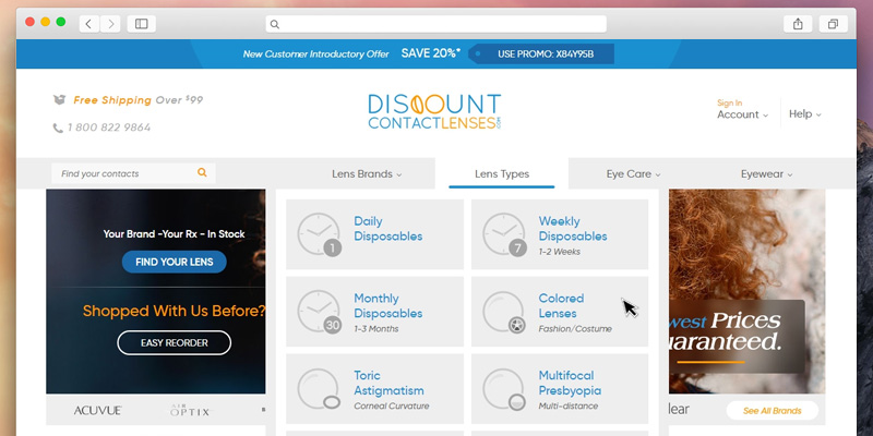 Detailed review of Discount Contact Lenses Largest Selection of brand name contact lenses