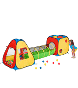 UTEX 3 in 1 Pop Up Play Tent with Tunnel, Ball Pit for Kids