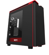 NZXT H440 Mid TowerComputer Case, Matt Black/Red/w Window
