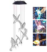Image Windlights Solar Changing Light Hummingbird Wind Chime