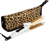 6th Sense Styling Technology 2-in-1 Mini Travel Flat/Curling Iron Dual Voltage 374 Degree Temperature Nano Titanium