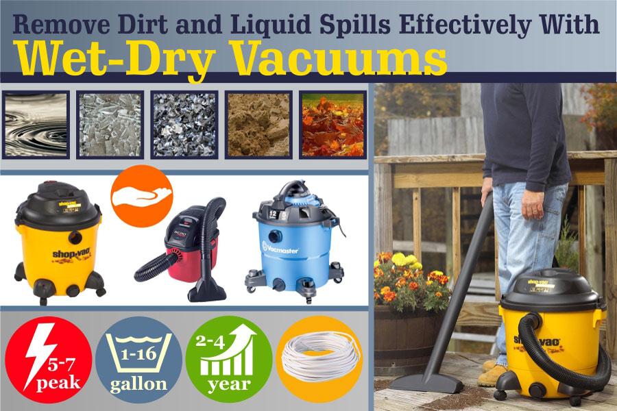 Comparison of Wet-Dry Vacuums to Remove Dirt and Liquid Spills