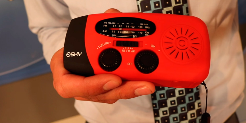 Review of Esky ES-CR01 Portable Emergency Radios Hand Crank Self Powered AM/FM/NOAA Solar Weather Alert Radio with 3 LED Flashlight 1000mAh Power Bank