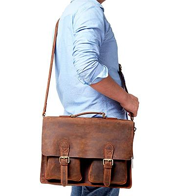 Review of Kattee XZ122 Handmade Genuine Leather Laptop Briefcase