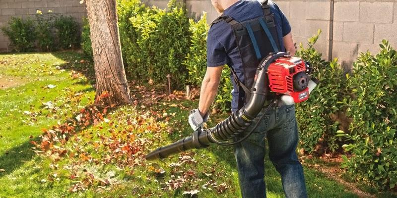 Troy-Bilt TB4BP EC Backpack Blower with JumpStart Technology in the use