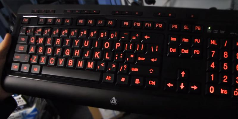 Azio KB506U Vision Backlit Keyboard with Large Print keys in the use