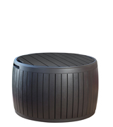 Keter Wood Style Round Outdoor Storage Table Deck Box
