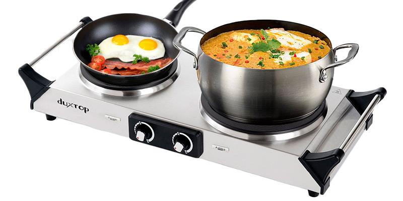 Duxtop Portable Electric Countertop Double Burner in the use