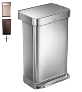 Simplehuman CW2024 Kitchen Step Trash Can with Liner Pocket