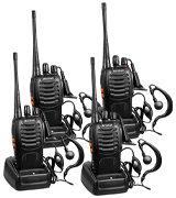 Arcshell Two-Way Radios with Earpiece 4 Pack UHF 400-470Mhz Walkie Talkies