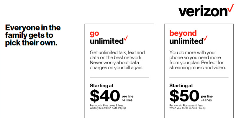 Verizon Cell Phone Plans: One Family. Different Unlimited Plans in the use