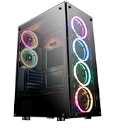 darkFlash Phantom Black ATX Mid-Tower Computer Gaming Case Tempered Glass